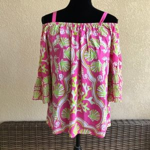 Crown & Ivy Pink Lime White Off Shoulder Seashells